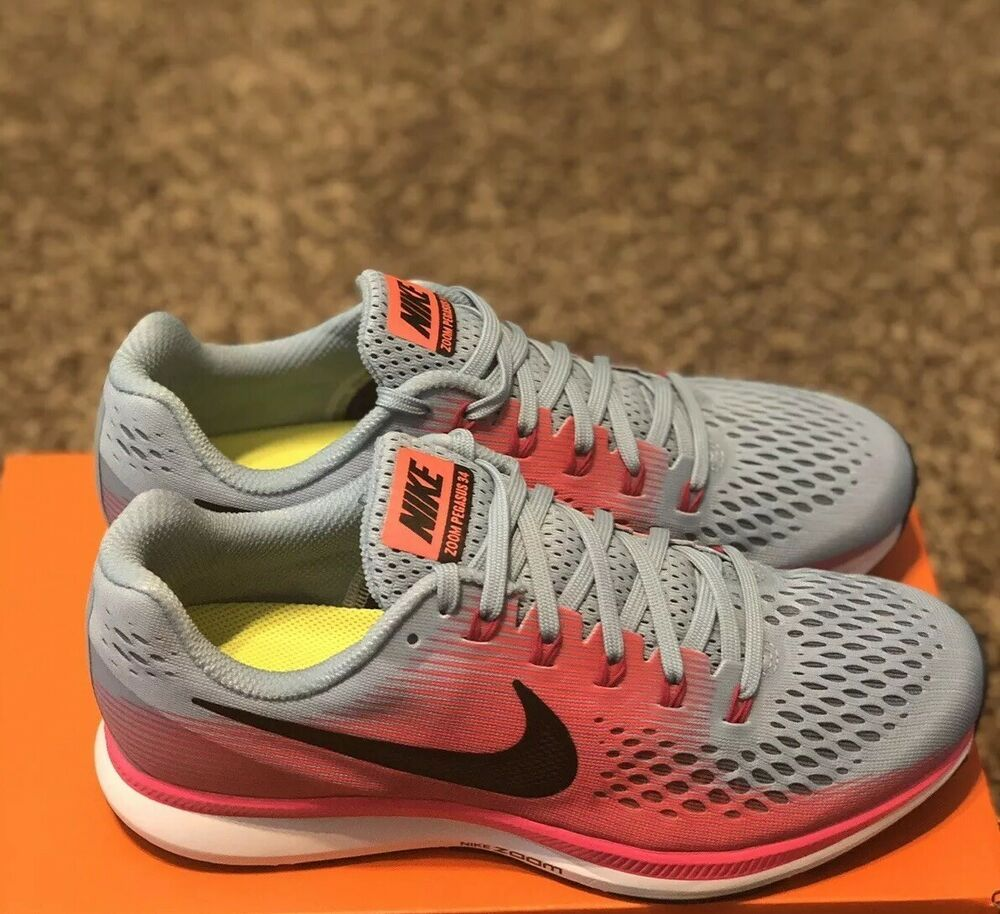 Details about Women Nike Air Zoom Pegasus 34 (W) Wide Running Shoes BlueRacer Pink 880561