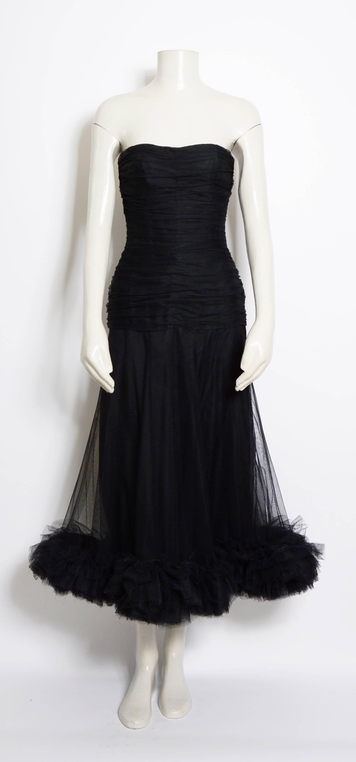 a5288456a0d Christian Dior vintage black tulle / silk ruched bustier dress, 1950s For  Sale at 1stdibs