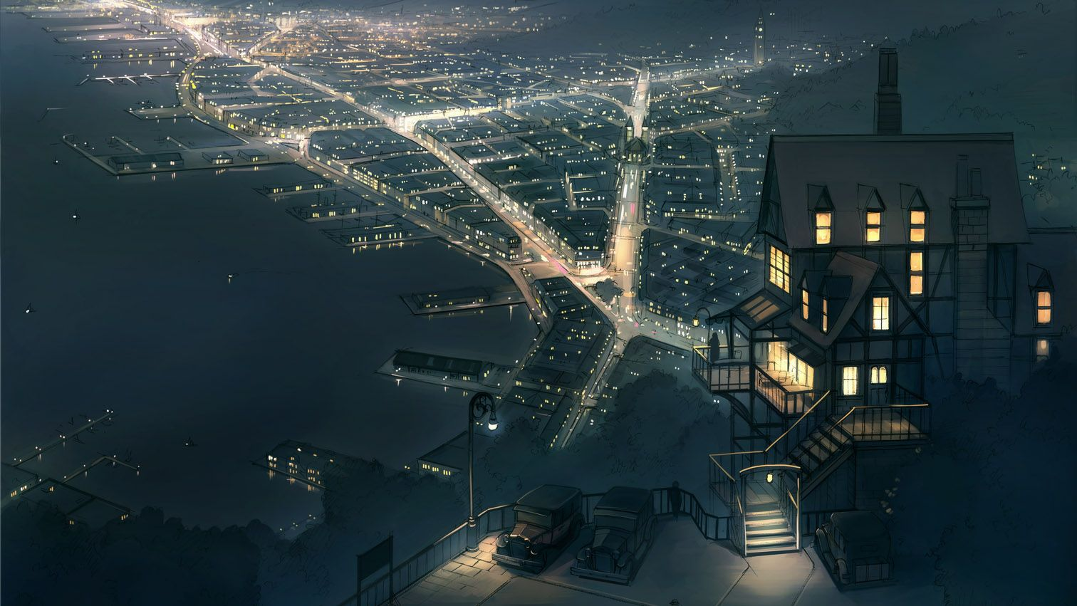My Collection Of Anime Sceneries Anime City Anime Scenery Scenery Wallpaper Anime city night wallpaper 4k