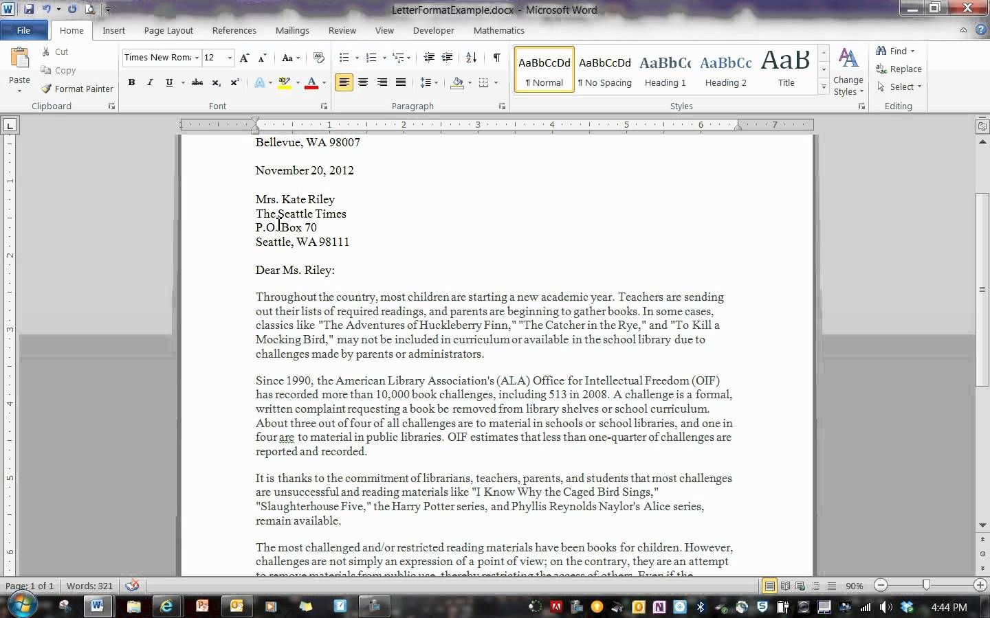Block Format Letter  Admg   Global Managerial Communications