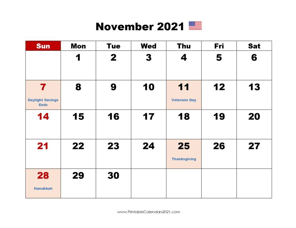 Printable Calendar November 2021 Printable 2021 Calendar With Holidays In 2020 June Calendar Printable Printable Calendar 2021 Calendar