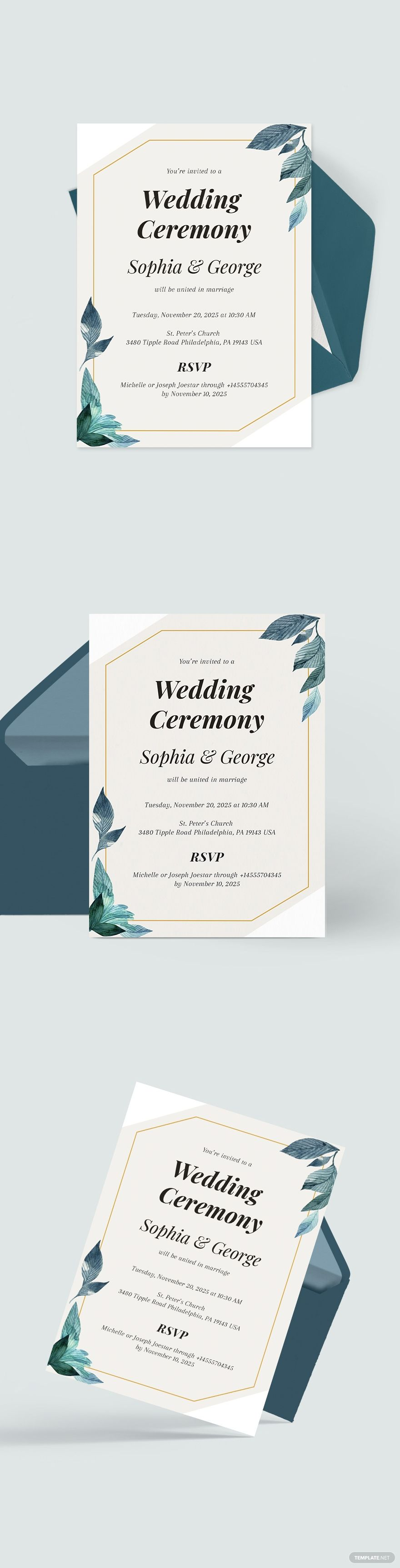 Formal Wedding Invitation Template in 2020 Wedding