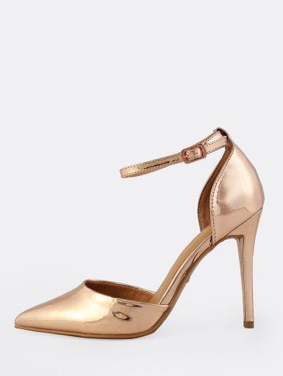 Toe Ankle Strap Heels ROSE GOLD