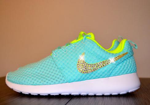 Gold Bling Swarovski Crystal Swoosh Nike Roshe Run Tiffany Blue Volt  Hotroshes Glitter Sneakers 2015 Sale