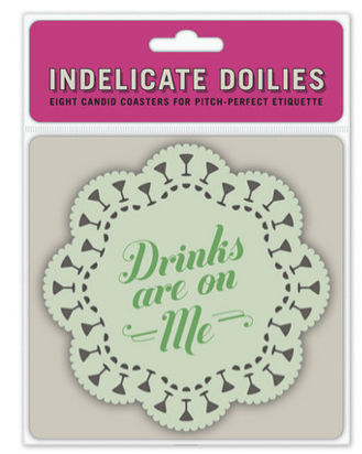 ~ Weekend Cocktails Must Have ~    Call attention to your sense of humor while instilling proper etiquette in your guests with our sturdy and reusable drink coasters. No matter the occasion, imbibing visitors are sure to marvel at your good t  aste and mind their manners.    Dry wit—and drinking cheer—for the thirsty masses!  A hosting gift that's actually helpful to the host!  5-inch diameter; 8 coasters, 2 each of 4 designs    www.TheShoppingBagStore.com