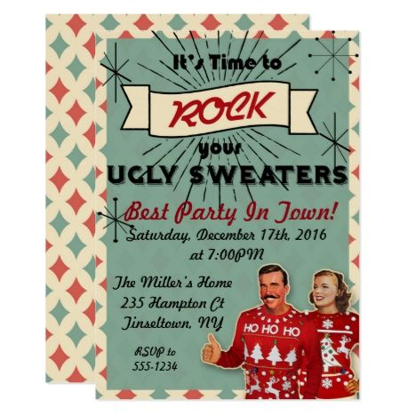 Retro Ugly Sweater Christmas Party Invitation in 2018 Christmas
