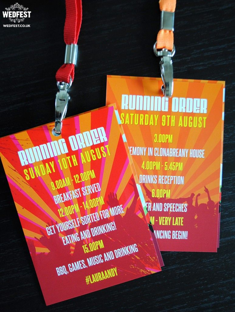 festival wedding running order vip lanyard - http://www.wedfest.co ...