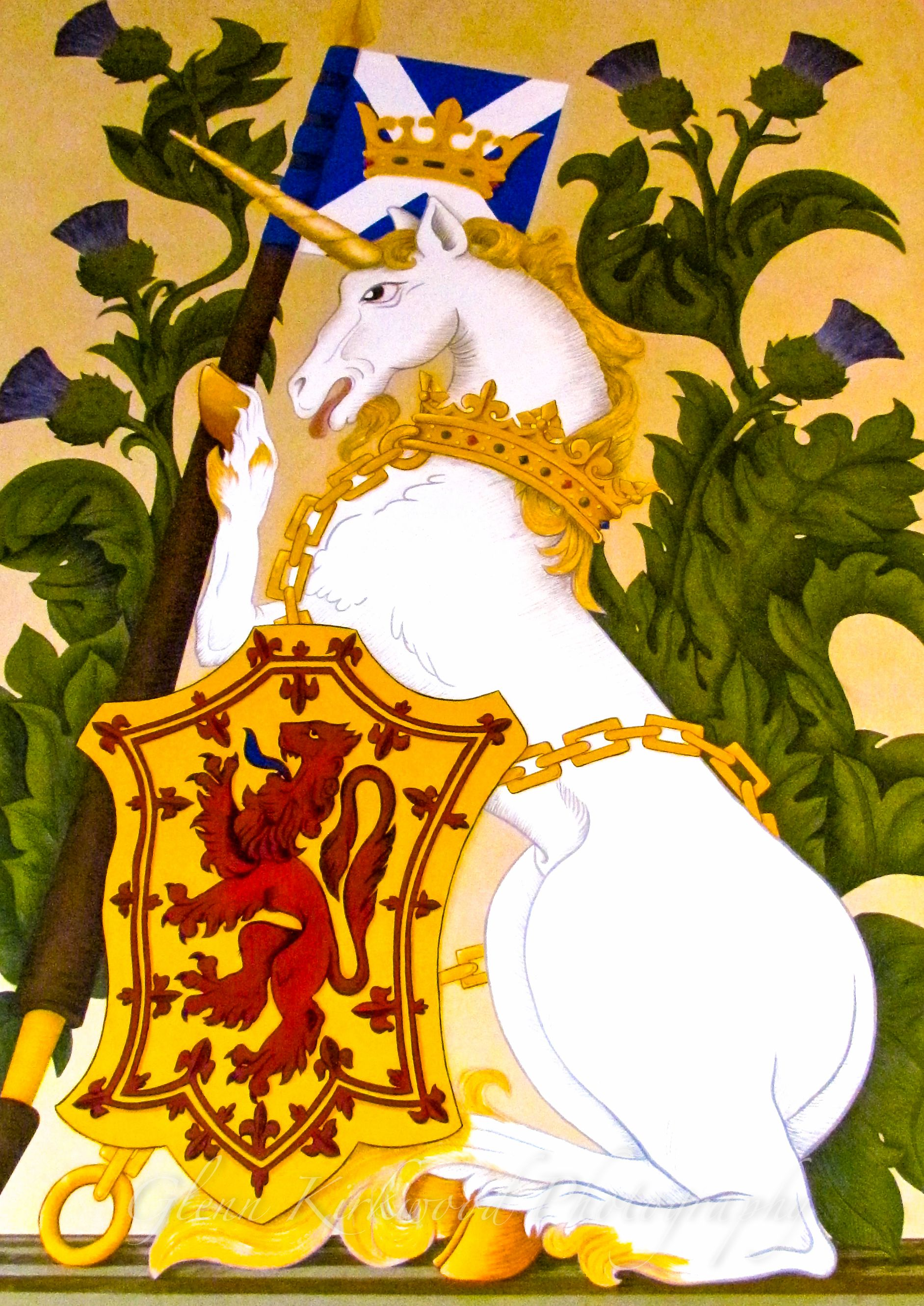 Unicorn and Shield photo, tapestry on the wall. Stirling Castle ...