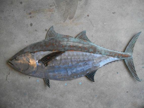 Blue Fin Tuna Fish Metal Sculpture 36in Tropical Beach Coastal Wall ...
