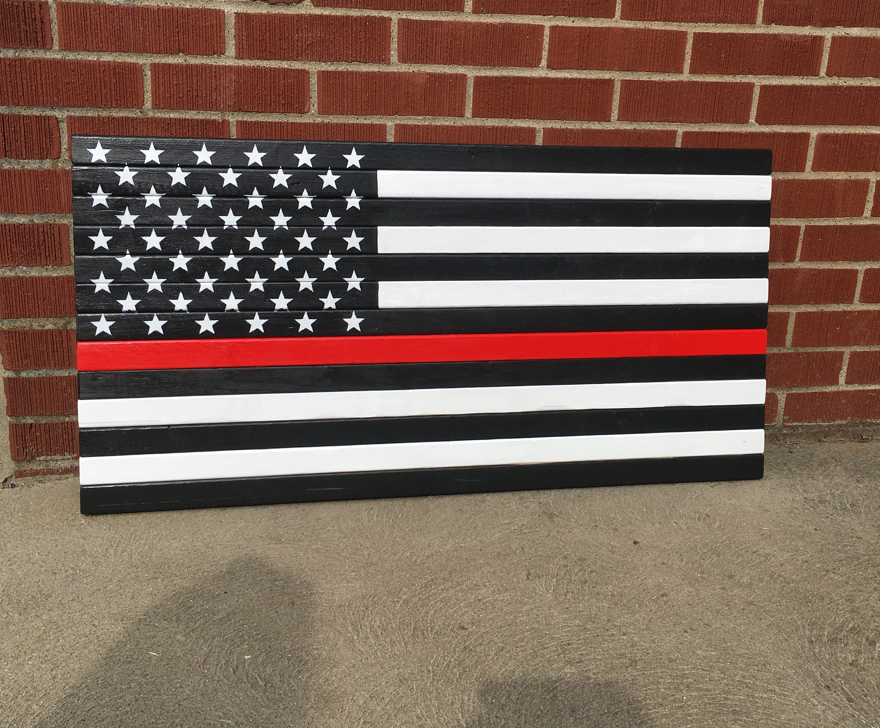 Thin Red Line Flags Thin Red Line Fire Fighter Inside Flag Outside Flag Wooden Flag Painted Flag Wooden Flag Wood Flag Thin Red Line Flag