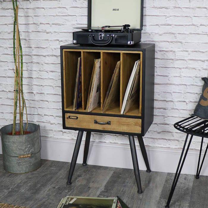 1001 id es furniture tchotchkes rangement vinyle mobilier de salon et meuble pour - Meuble pour platine vinyle ...
