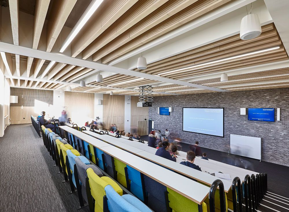 Main Lecture Theatres No 12 3 Lambri Acoustic Timber Slotted