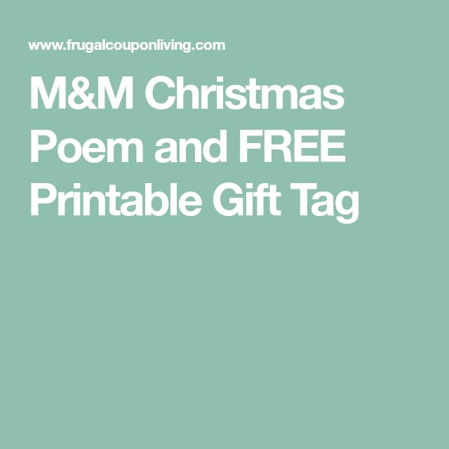 mm christmas poem and free printable gift tag