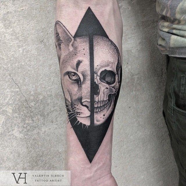 Human Jaw Tattoo: Half Cougar Half Human Skull Tattoo