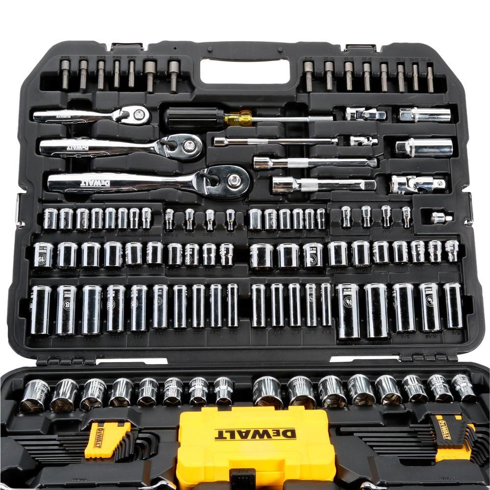 6460fa7dc25 DEWALT 1 4 in. x 3 8 in. Drive Polished Chrome Mechanics Tool Set  (168-Piece)-DWMT73803 - The Home Depot