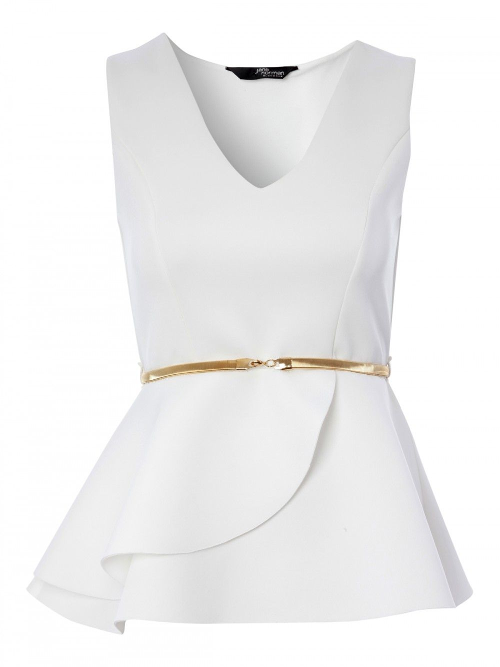 White is still looking so right for this season. This sleek peplum ...