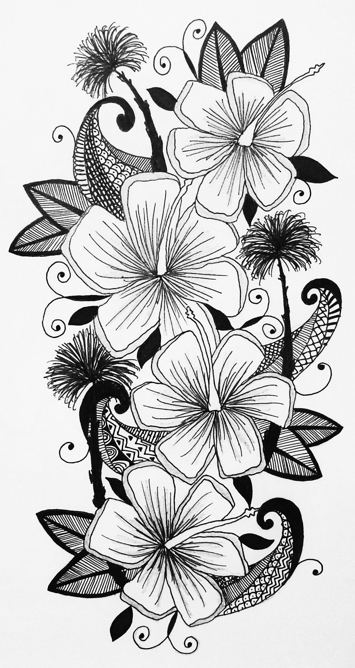 Hawaiian inspired floral hibiscus flower palm tree crashing wave hawaiian inspired floral hibiscus flower palm tree crashing wave tattoo design illustration izmirmasajfo