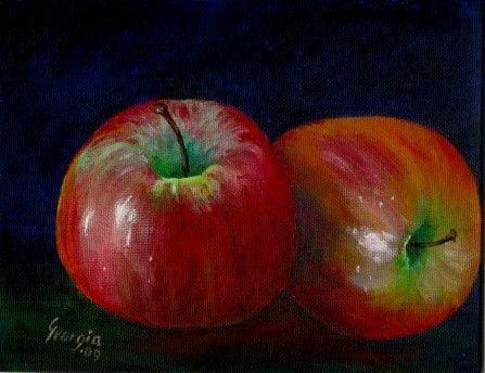 Pintura de acrílico original dos manzanas por artbygeorgia en Etsy