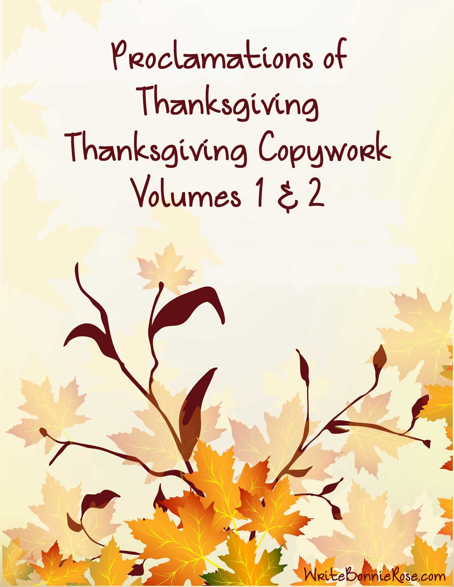 Thanksgiving Copywork Volumes 1 2