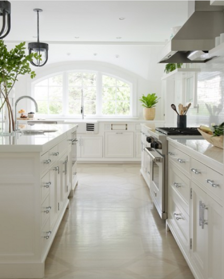 Farmhouse galley kitchen remodel with recessed panel