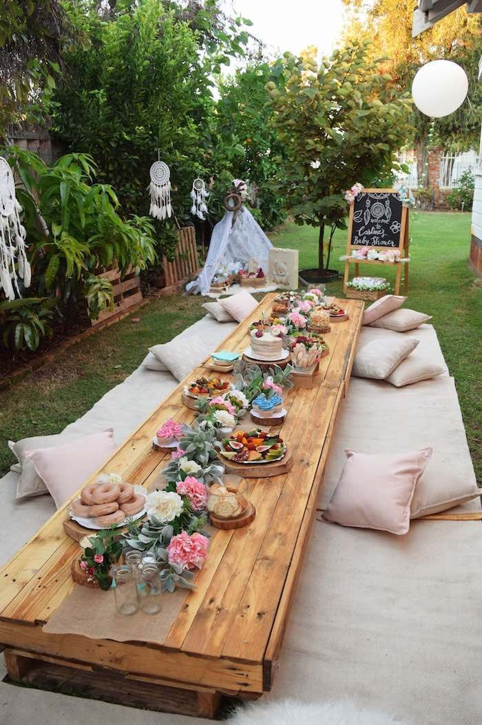 Low-seated Boho Party Table from a Boho Baby Shower on Kara's Party Ideas | Kara...