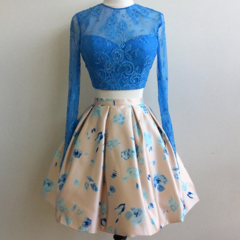 ea7df813b5e Stylish Two Piece Jewel Long Sleeves Short Floral Sky Blue Homecoming Dress  with Lace Top Beading