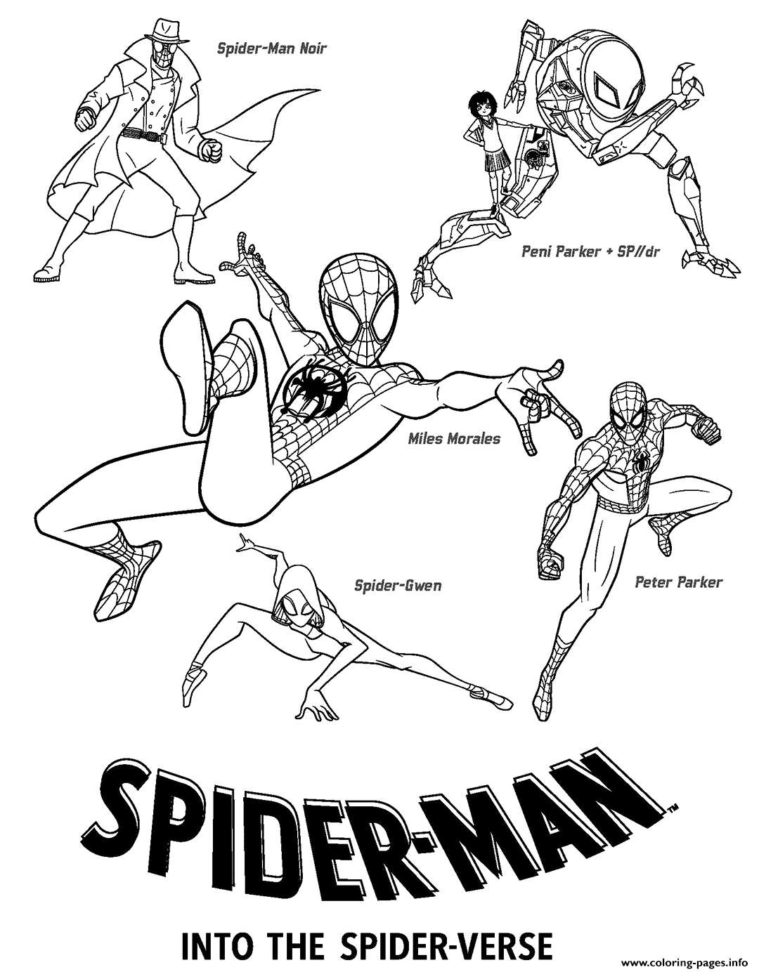 Print Spider Man Into the Spider Verse movie coloring pages