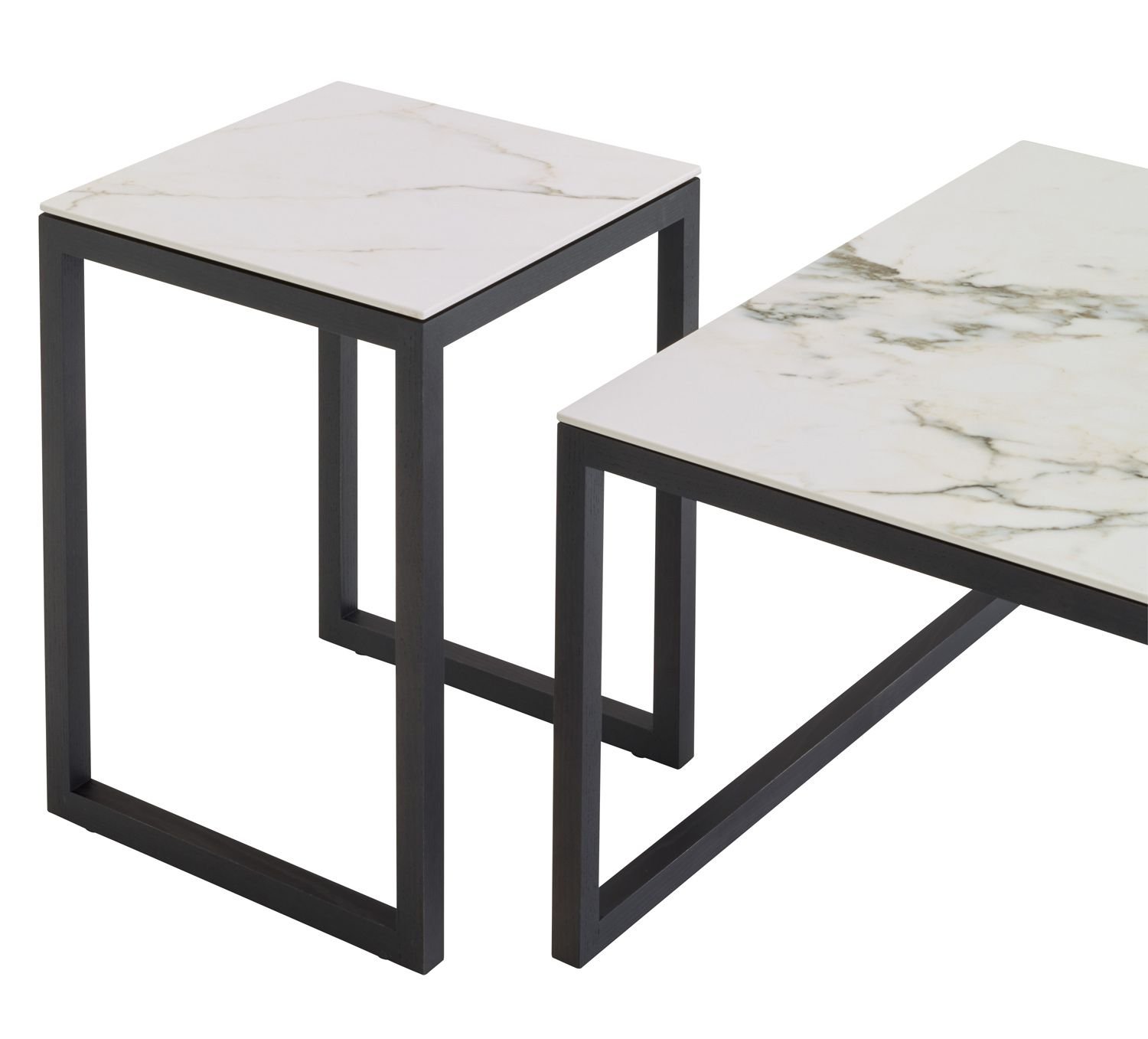 iso occasional table set in white marble effect stoneware designed by marie christine dorner. Black Bedroom Furniture Sets. Home Design Ideas
