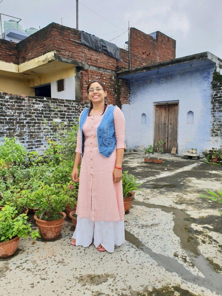 Pink Kurti N White Palazzo With Blue Denim Jacket Pink Kurti Maxi Dress Blue Denim Jacket
