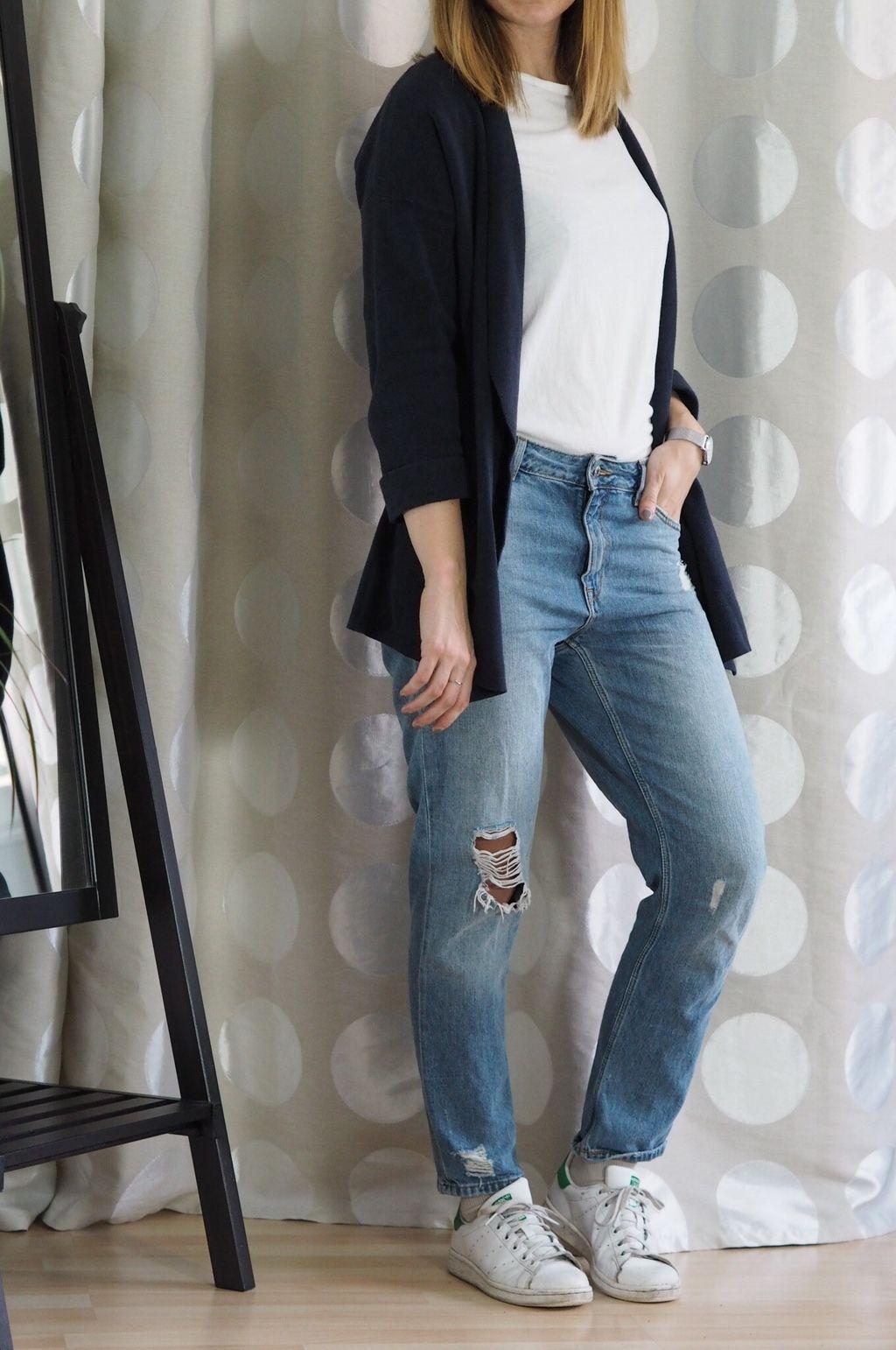 girlfriend jeans cardigan outfit capsule wardrobe herbst. Black Bedroom Furniture Sets. Home Design Ideas