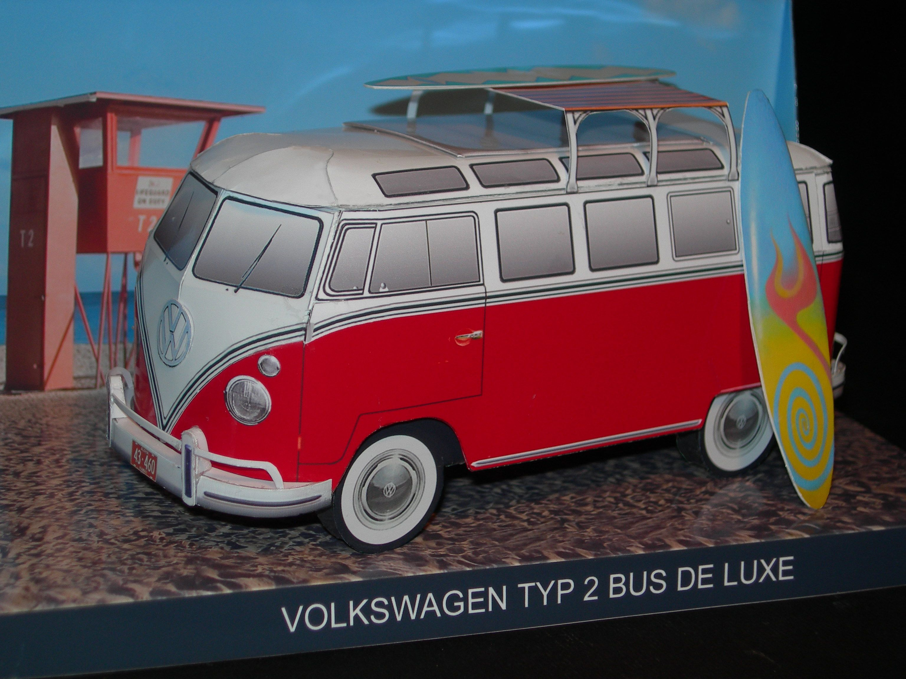 Vw Bus De Luxe Samba Bus 1 Paper Models Paper Model Car Car Papercraft