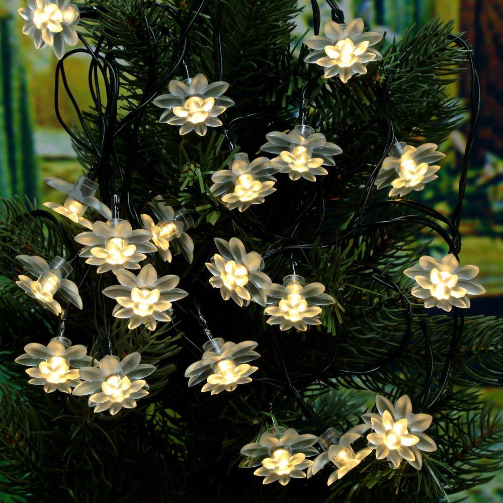 58m 20leds Solar Powered Warm White Lotus Flower Light Leds