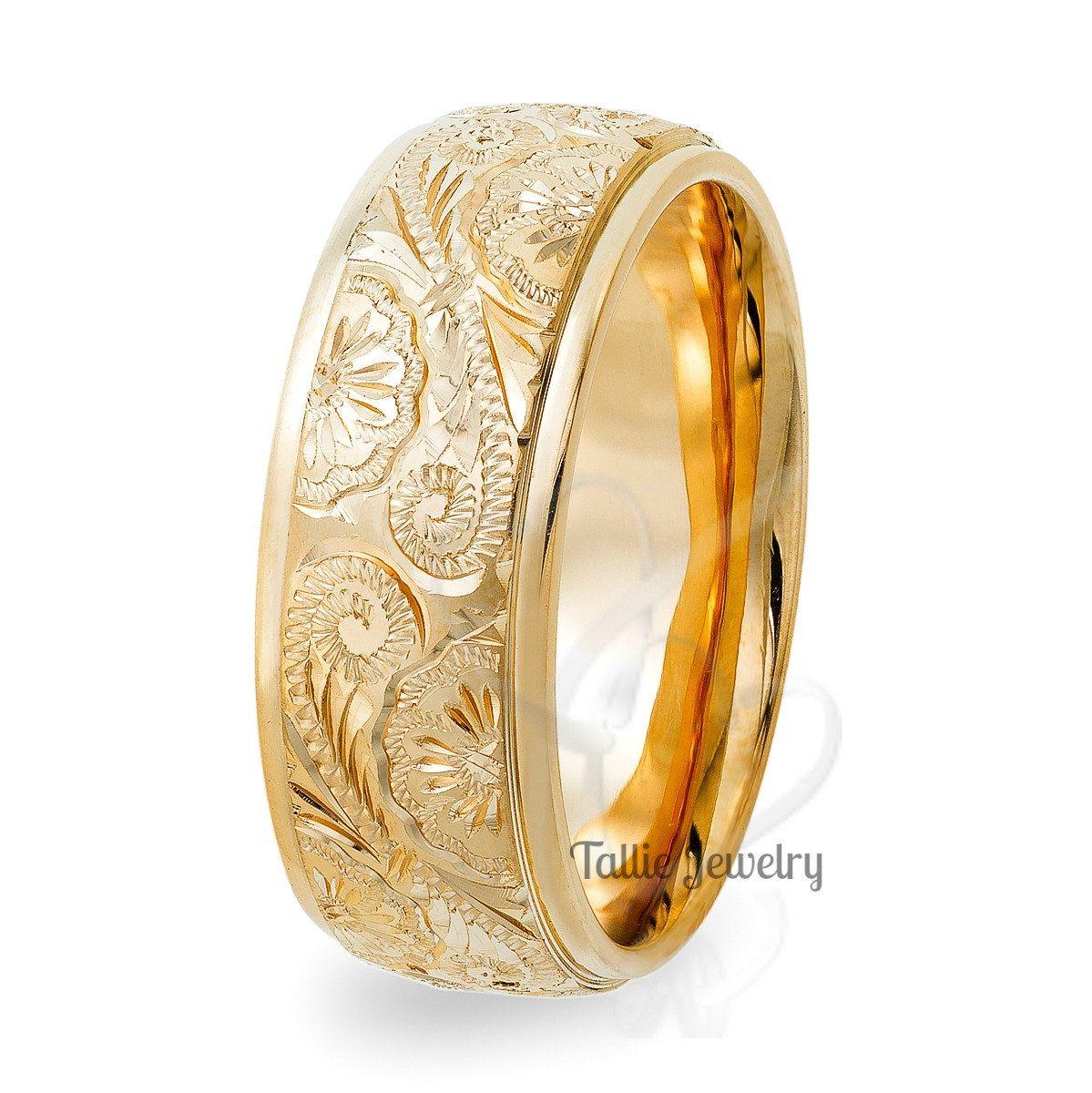 Hand Engraved Mens Wedding Rings 8mm 10k 14k Yellow Gold Wedding Bands Matchin Mens Yellow Gold Wedding Bands Mens Gold Wedding Band Hand Engraved Wedding Band