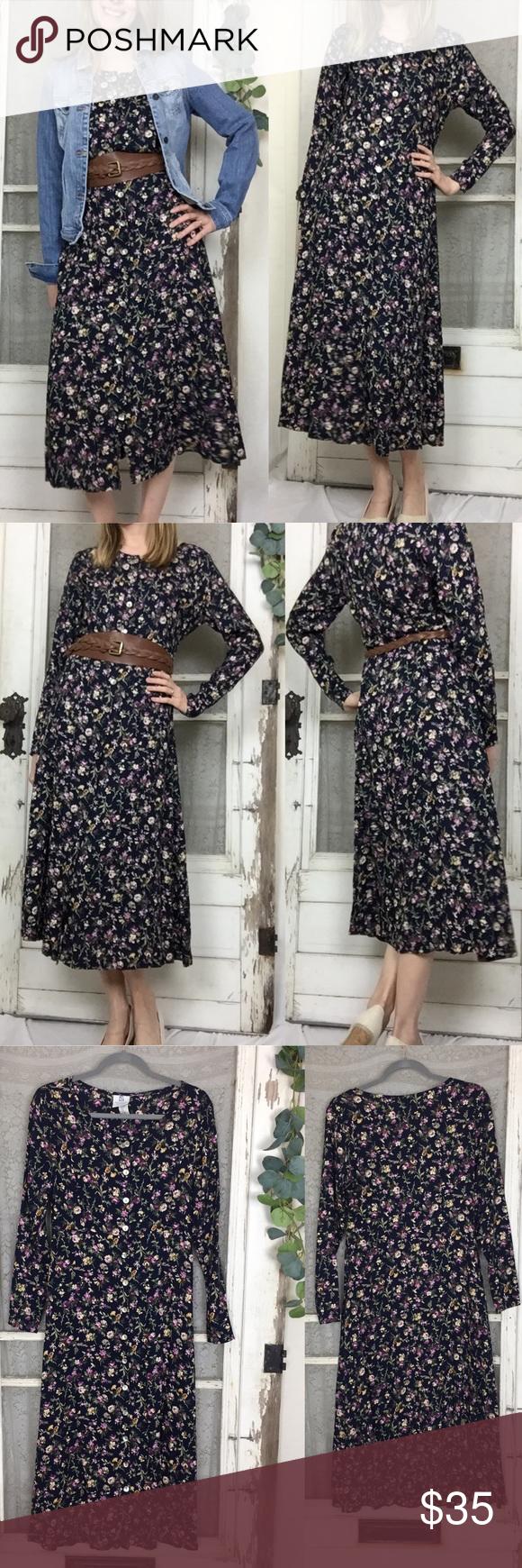 Motherwear Nursing Vintage Floral Midi Dress S Floral Midi Dress Black Long Sleeve Dress Midi Dress