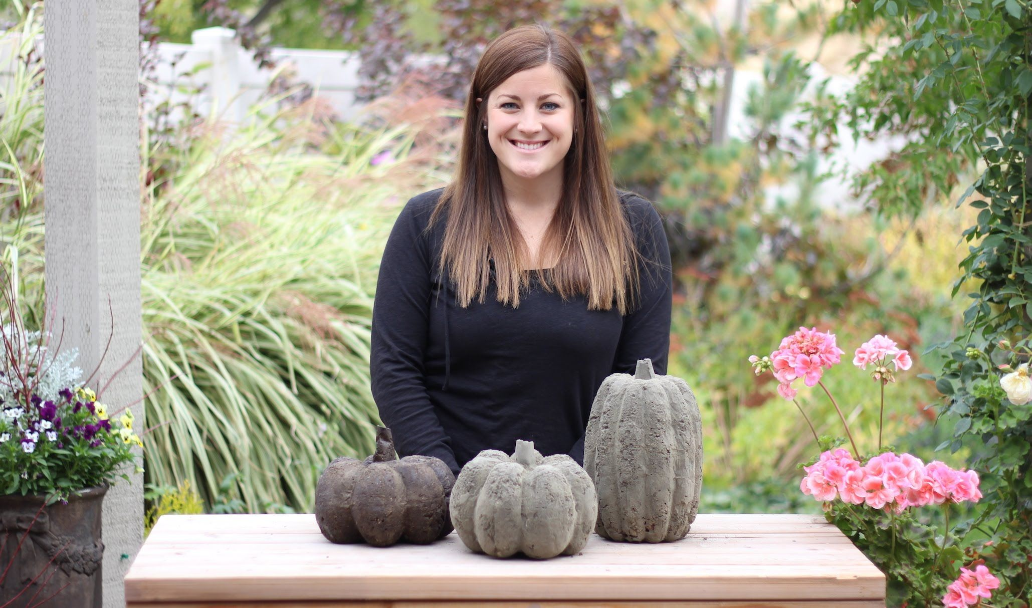 I've been having fun making concrete pumpkins this past week! It's the  perfect