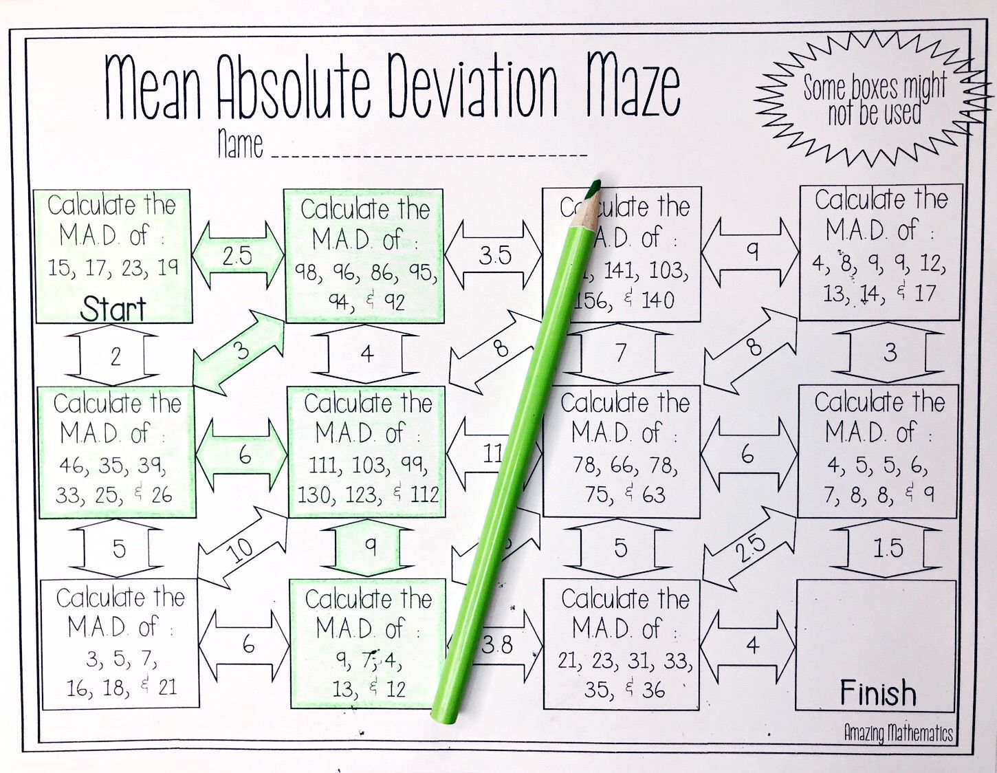 Mean Absolute Deviation Maze Worksheet