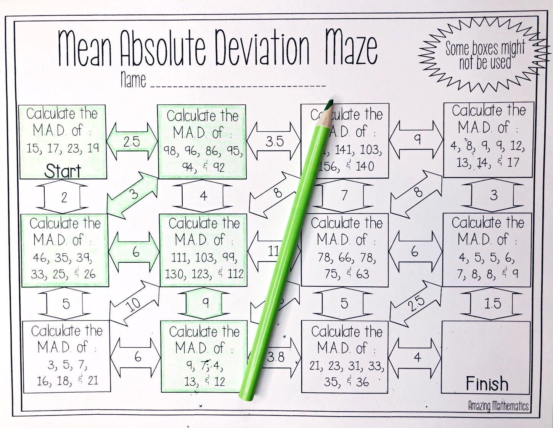 medium resolution of Mean Absolute Deviation Worksheet - Maze Activity   Math worksheets