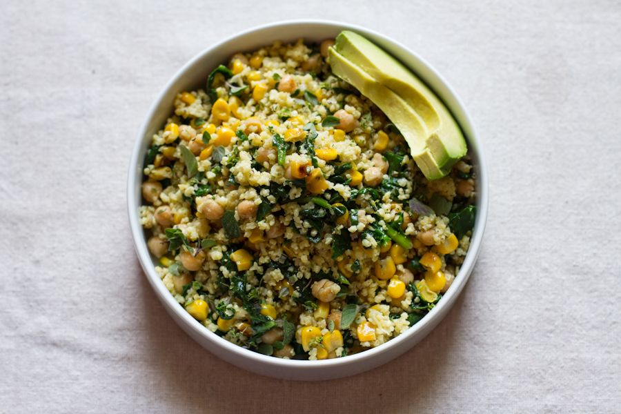 lemony millet salad with chickpeas, corn, + spinach - Edible Perspective - 조, 수수