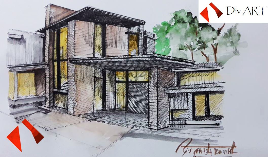 Watch How To Draw Sketch A Modern House With Pen Markers Its