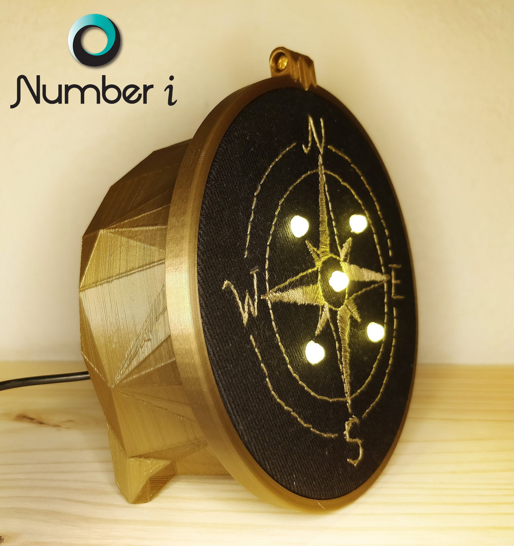 Hand Embroidered Vintage Compass Night Light In 2020 Vintage Compass Contemporary Lamps Unique Desks