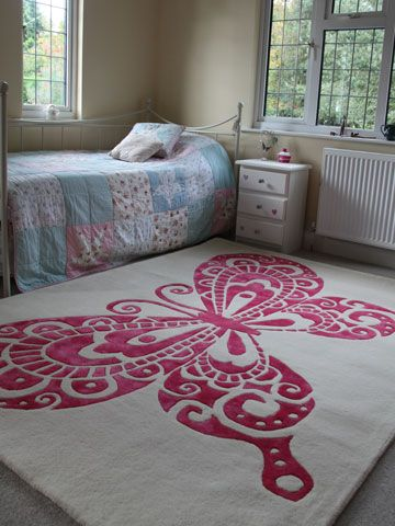 High Quality PINK BUTTERFLY RUG