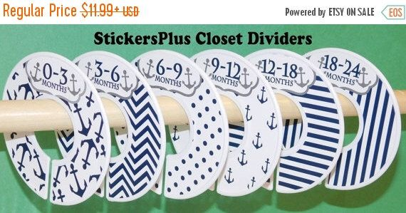 BIG SALE 6 Baby Closet Dividers Organizers Assembled or DIY PreCut Navy Anchor Nautical Boy Baby Shower Nursery Gift Clothes Organizer Cl024 by StickersPlus on Etsy https://www.etsy.com/listing/243502530/big-sale-6-baby-closet-dividers