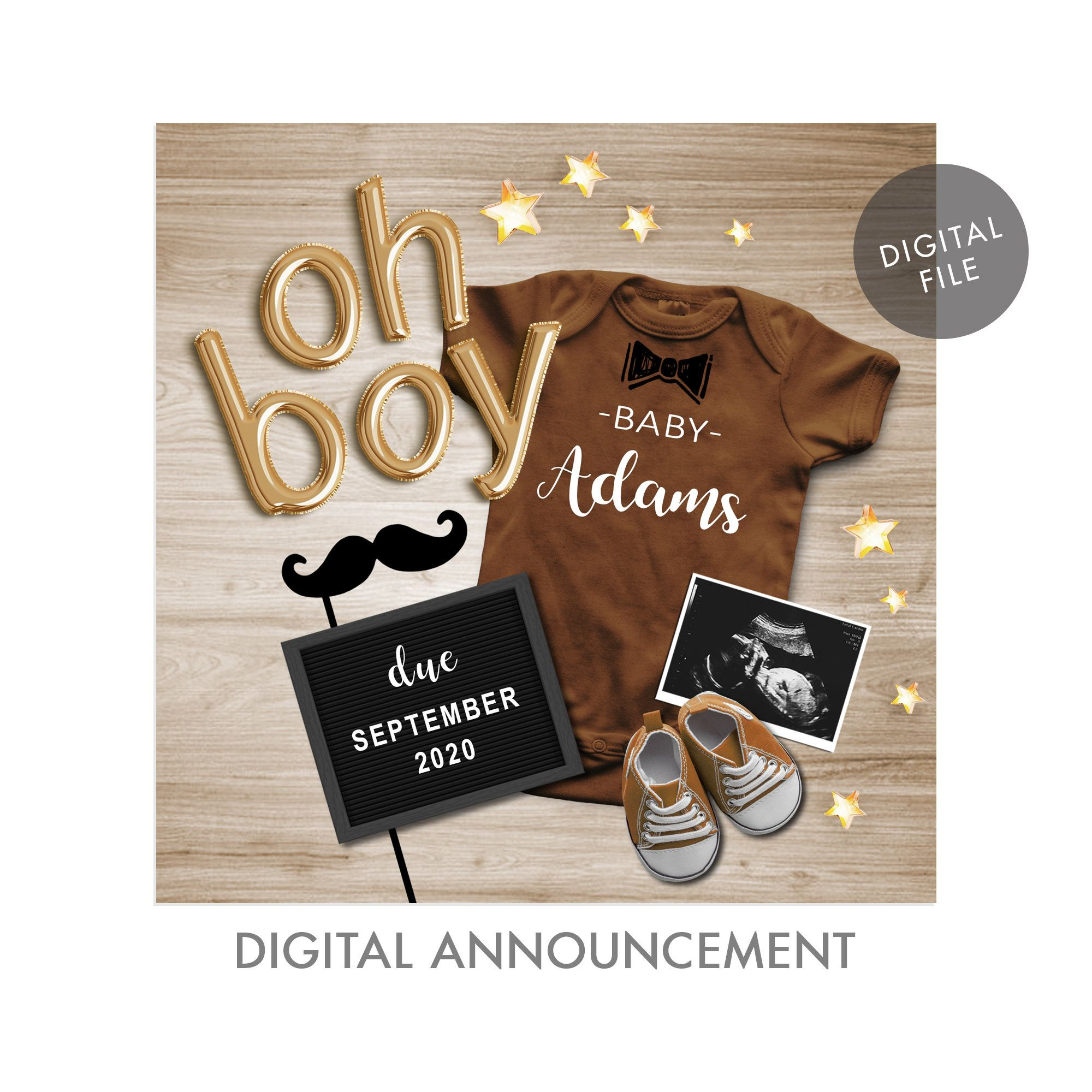 Digital Baby Personalized Social Media for Facebook Instagram BOY GENDER REVEAL Pregnancy Announcement It/'s A Boy Baby Announcement Idea