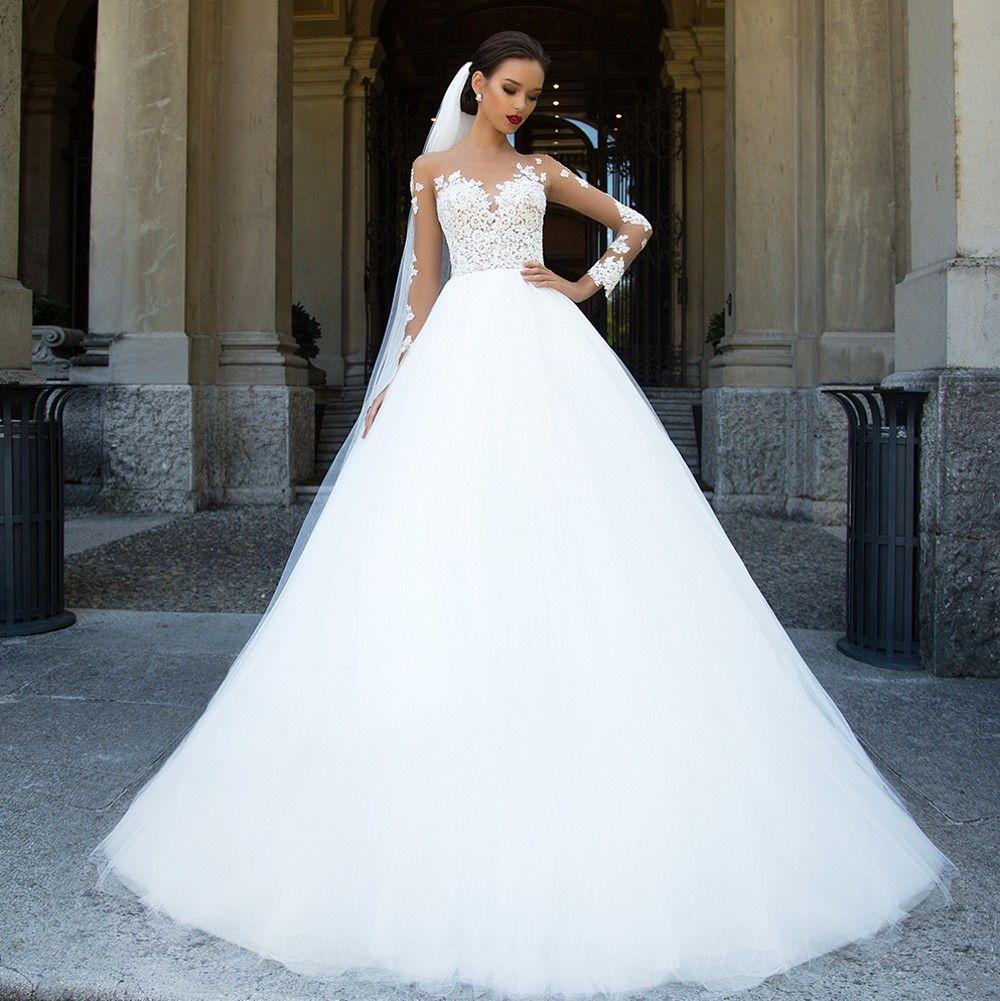 milla nova sheer long sleeve wedding dresses for brides