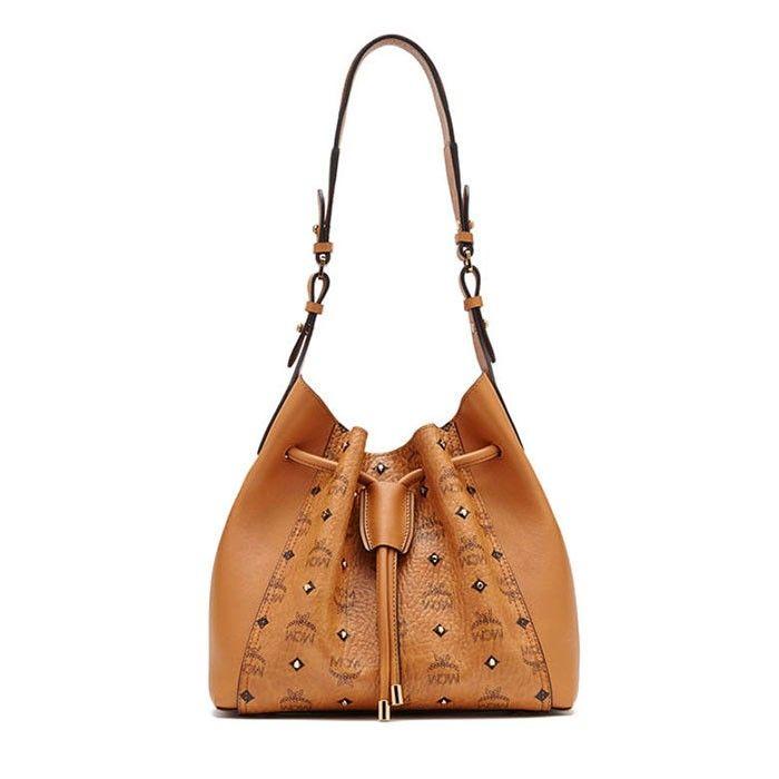 MCM Medium Gold Visetos Studs Drawstring Shoulder Bag In