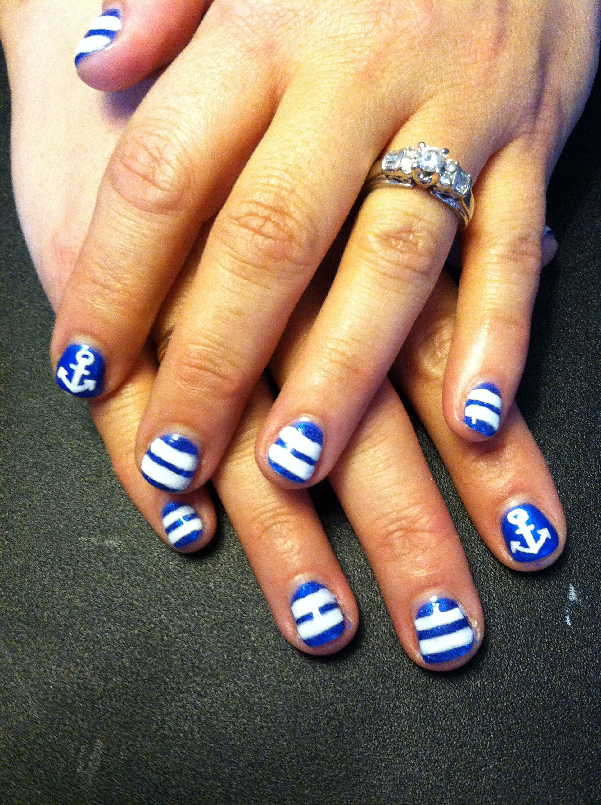 Blue, stripes, anchors, white