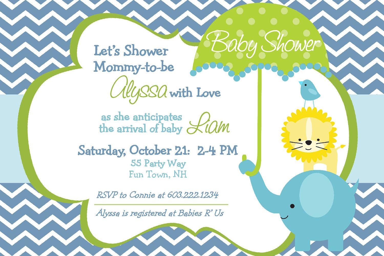 Elephant Baby Shower Invitation Boy Invitation Elephant Baby Shower ...
