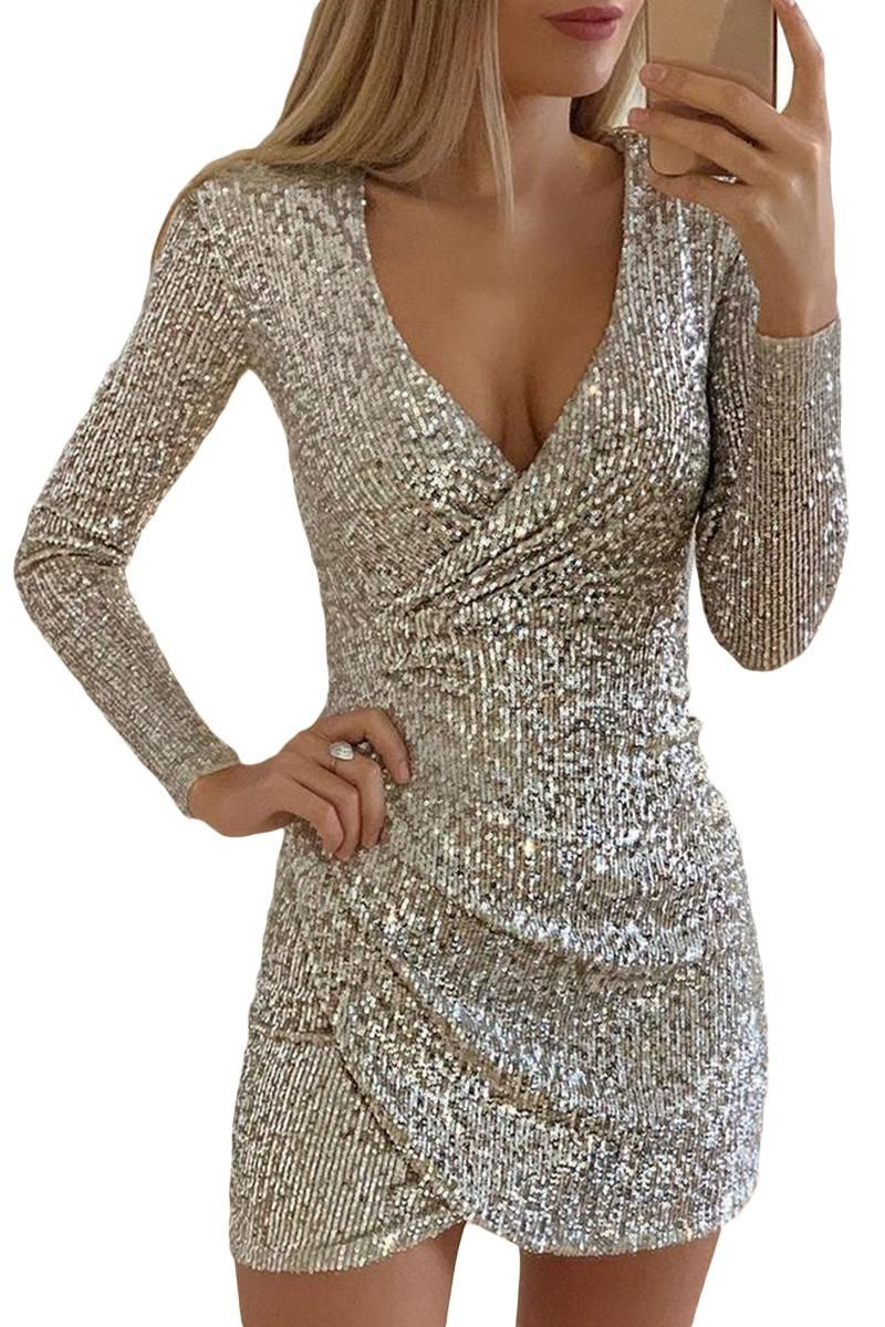 Silver Surplice Ruched Sequin Wrap Bodycon Dress Party Dress Long Sleeve Cocktail Dress Lace Sequin Bodycon Dress [ 1200 x 800 Pixel ]