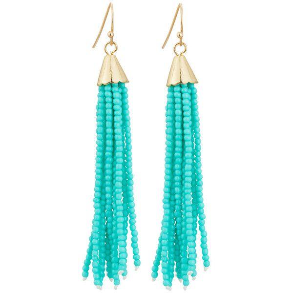 ab48737fb8e12 Panacea Beaded Tassel Drop Earrings ($15) ❤ liked on Polyvore ...