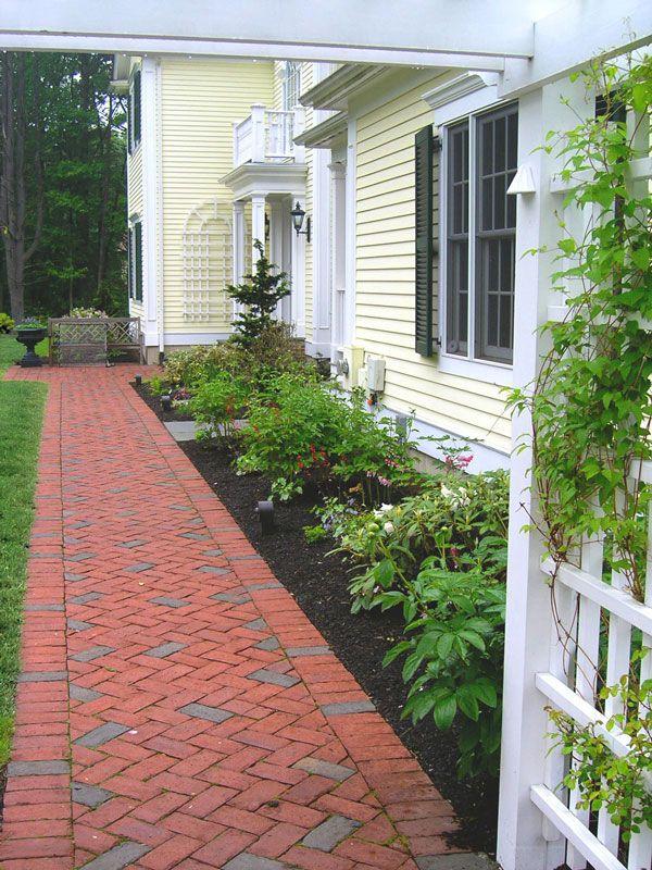 Red Brick Walkway Home Landscaping Outdoor Walkway Brick Walkway